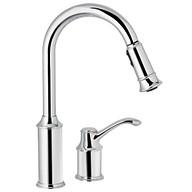 Aberdeen Chrome One-Handle High Arc Pulldown Kitchen Faucet