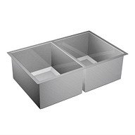 """1600 Series Stainless steel 31"""" X 20"""" 16 Gauge Double Bowl Sink Center Drain"""