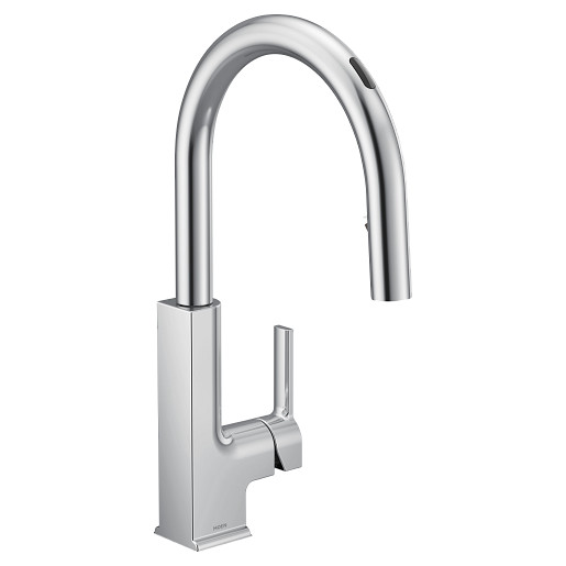 U by Moen Smart Faucet Chrome One-Handle High Arc Pulldown Kitchen Faucet in STO