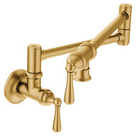 Traditional Brushed Gold Two-Handle Pot Filler Kitchen Faucet