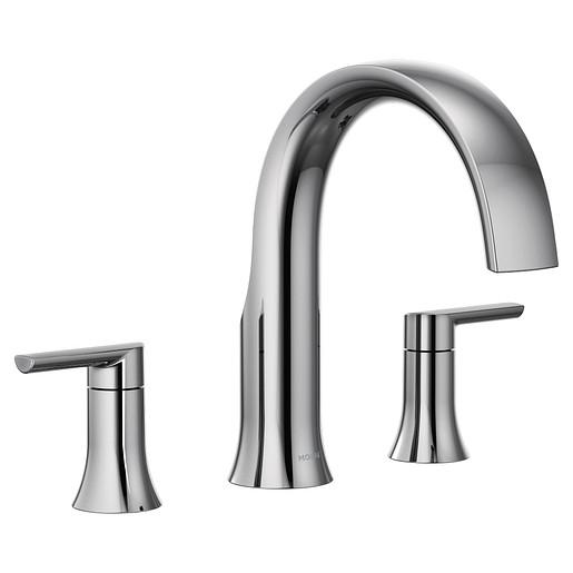 Doux Chrome Two-Handle Non-Diverter Roman Tub Faucet