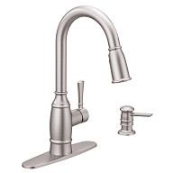 Noell Spot Resist Stainless One-Handle High Arc Kitchen Faucet
