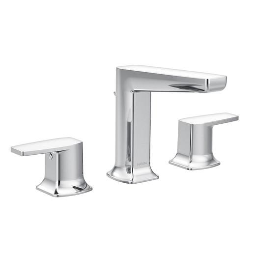 Via Chrome Two-Handle Low Arc Bathroom Faucet