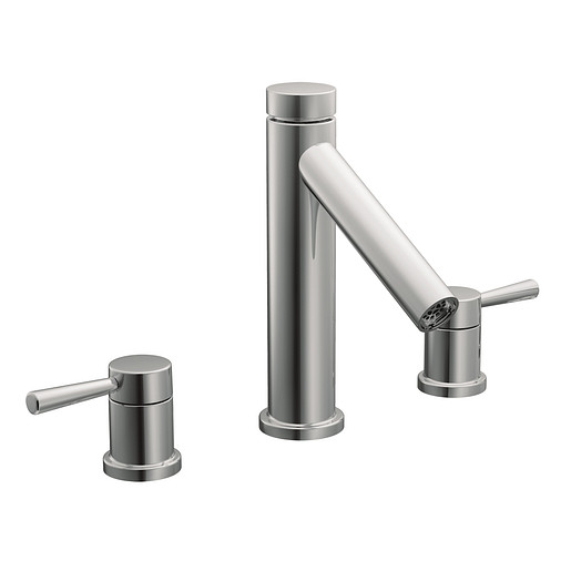 Level Chrome two-handle high arc roman tub faucet