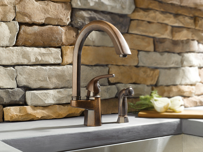 Featuring the Waterhill Oil Rubbed Bronze One-Handle High Arc Kitchen Faucet