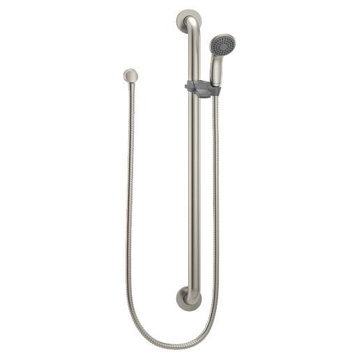 Commercial Classic brushed nickel slide bar/grab bar shower
