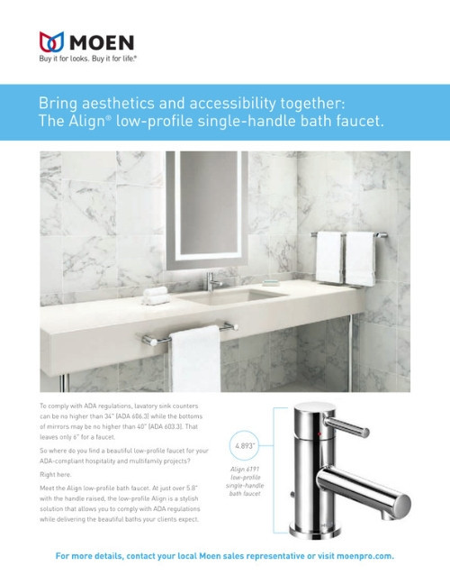 Align Low Profile Bath Faucet ADA Specifications