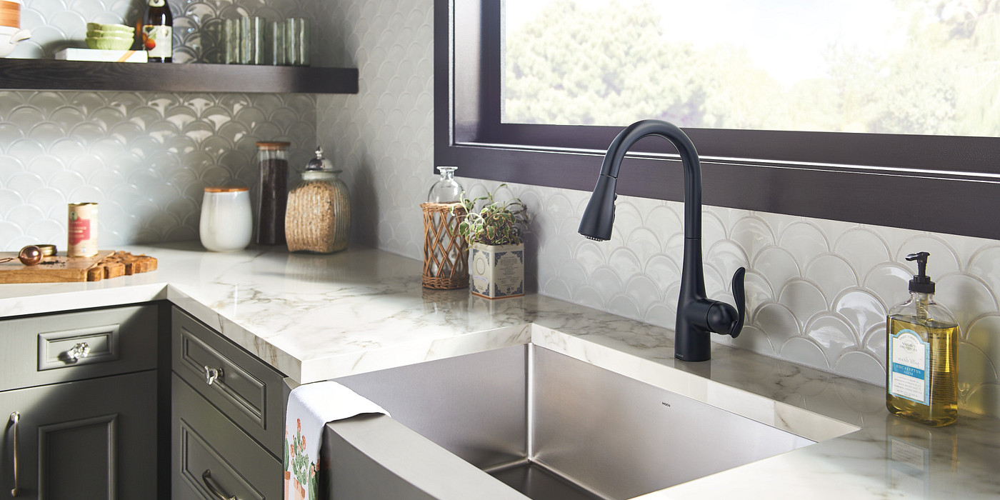 Arbor Matte Black 7594BL Pulldown Kitchen Faucet