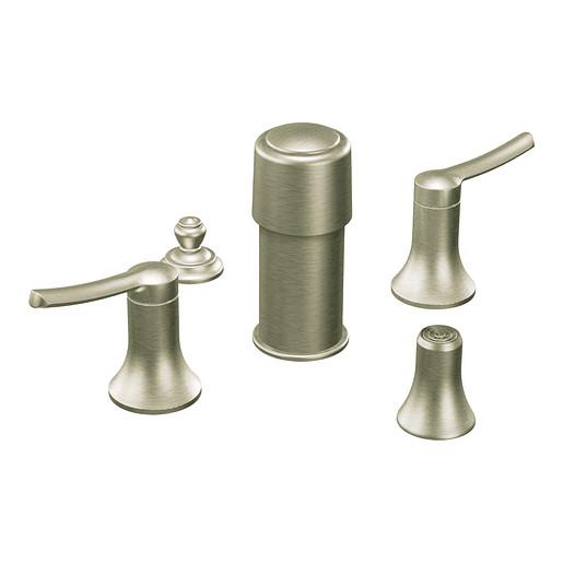 Fina Brushed nickel two-handle bidet faucet