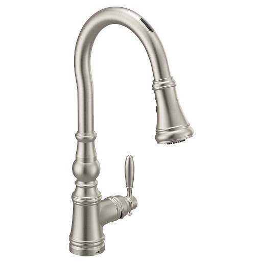 U by Moen Smart Faucet Spot Resist Stainless One-Handle High Arc Pulldown Kitchen Faucet in Weymouth