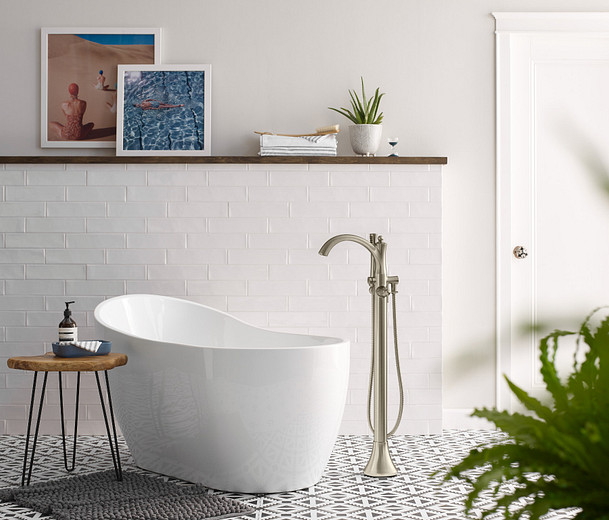 8oclock Wynford Brushed Nickel One-Handle Tub Filler Includes Hand Shower