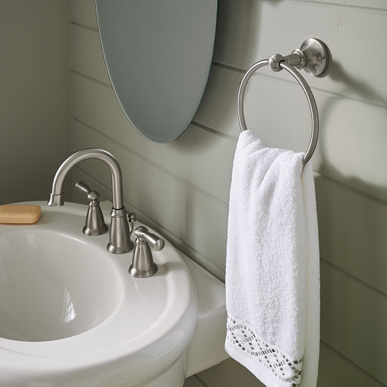 Install a brushed nickel faucet in your bathroom