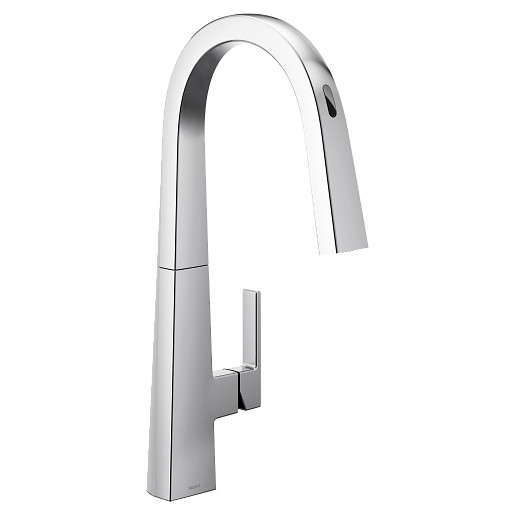 U by Moen Smart Faucet Chrome One-Handle High Arc Pulldown Kitchen Faucet in Nio