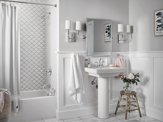 strip tile mosaics in varying sizes and material combinations