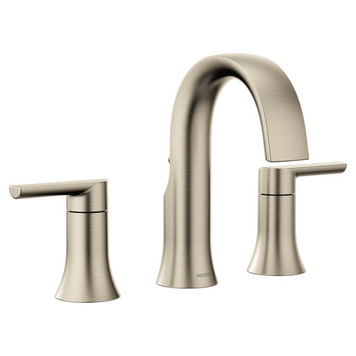 Doux Brushed Nickel Two-Handle High Arc Bathroom Faucet
