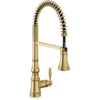 Moen Weymouth Brushed Gold One-Handle Pre-Rinse Spring Pulldown Kitchen Faucet