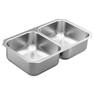"2000 Series 31-3/4""x18-1/4"" stainless steel 20 gauge double bowl sink"