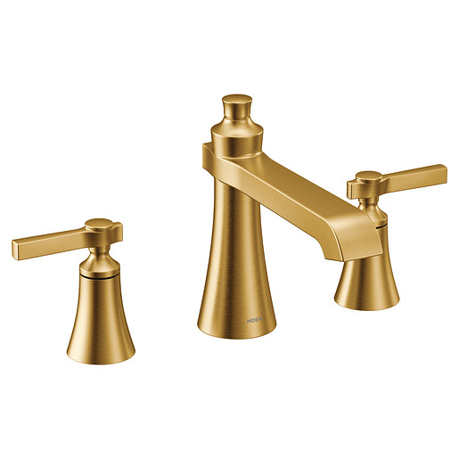 Flara Brushed gold two-handle high arc roman tub faucet