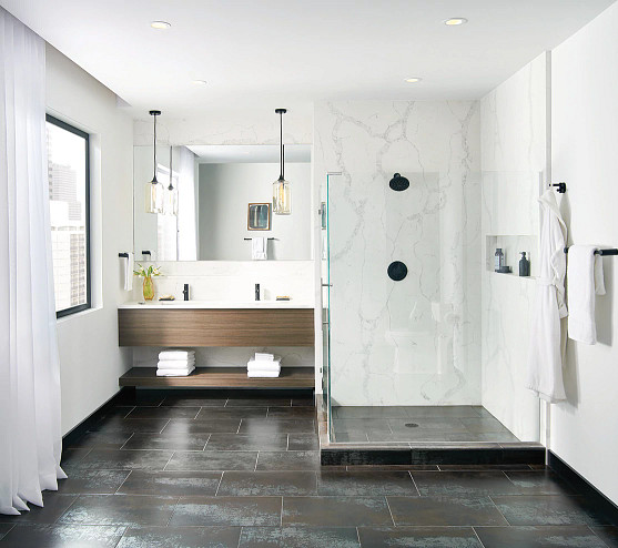 Tile flooring manufactured with recycled materials