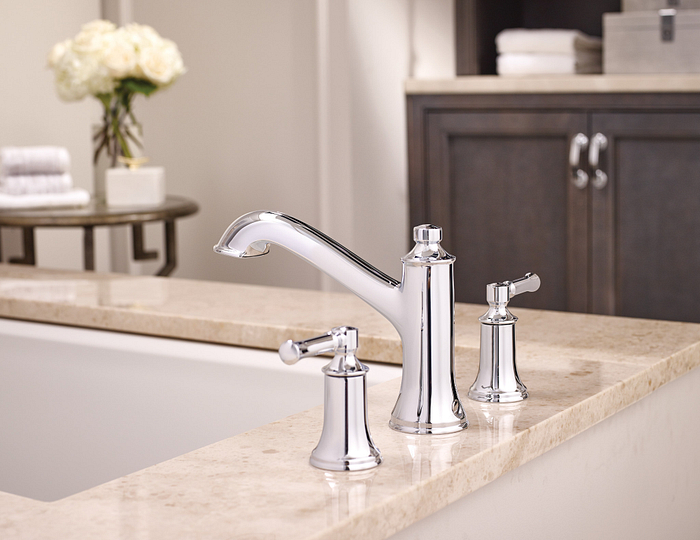 Featuring the Weymouth Chrome Two-Handle Tub Filler