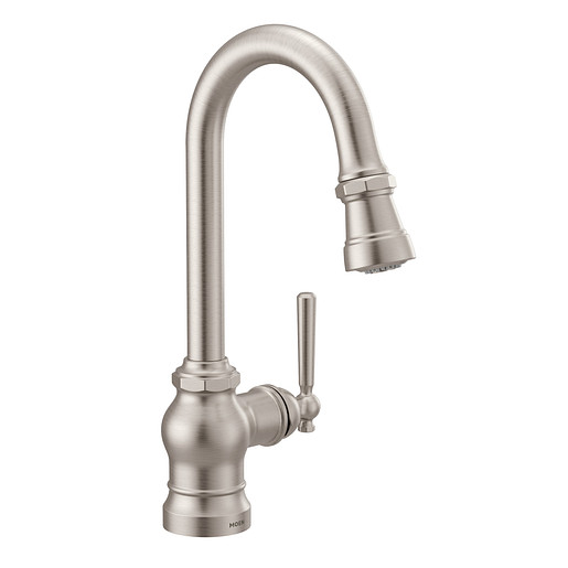 Paterson Spot resist stainless One-Handle High Arc Pulldown Single Mount Bar Faucet