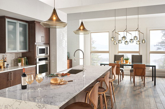 Align Spot Resist Stainless Kitchen Faucet with Overhead Lighting