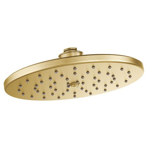 "Moen Brushed gold one-function 10"" diameter spray head rainshower"