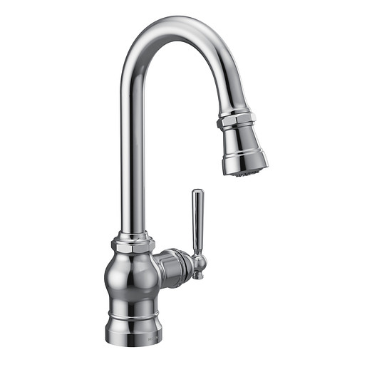 Paterson Chrome One-Handle High Arc Pulldown Single Mount Bar Faucet
