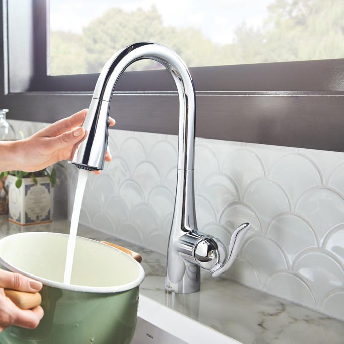 Close Up Chrome Arbor Kitchen Faucet