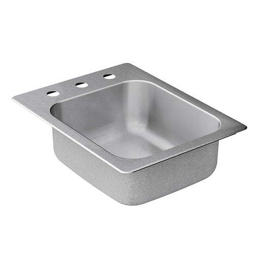 """Commercial 17""""x22"""" stainless steel 20 gauge single bowl sink"""