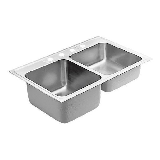 """Commercial 33""""x22"""" stainless steel 18 gauge double bowl drop in sink"""