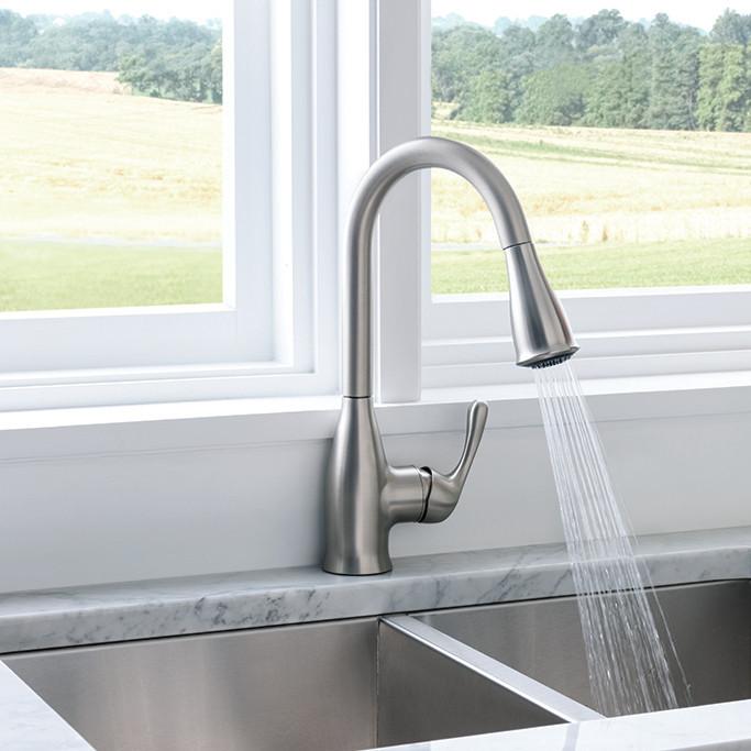 Kaden Spot Resist Stainless One-Handle Pulldown Kitchen Faucet