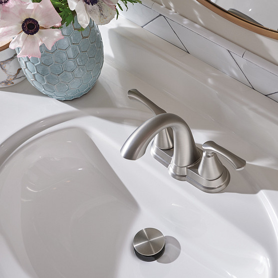 Tiffin Spot Resist Brushed Nickel Centerset Bathroom Faucet