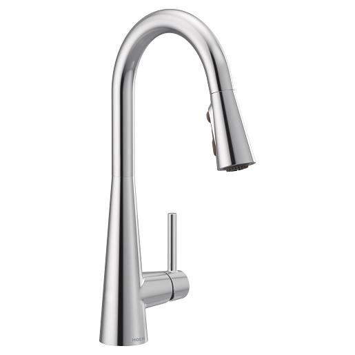 Sleek Chrome One-Handle High Arc Pulldown Kitchen Faucet