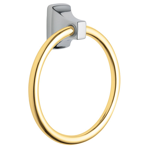 Contemporary Chrome/polished brass towel ring