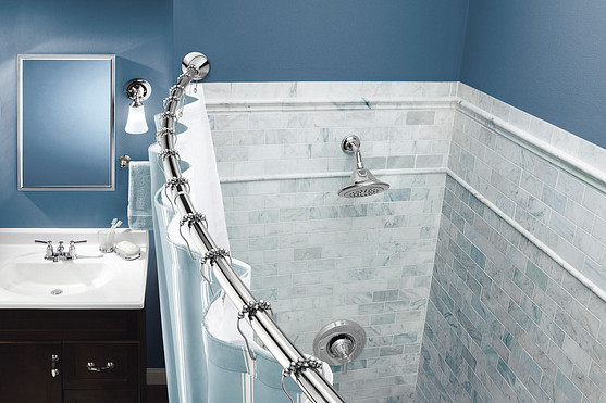 The curved shower rod installs in less than 10 minutes