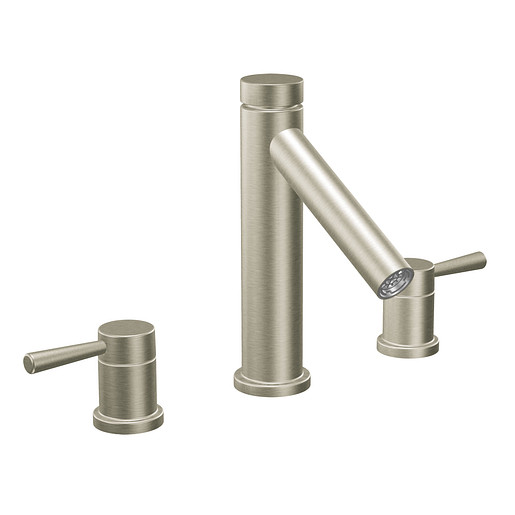Level Brushed nickel two-handle high arc roman tub faucet