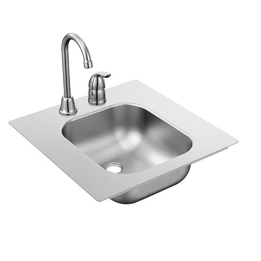 "2000 Series Stainless steel 16 5/8"" X 17 5/16"" QuickMount 20 Gauge Single Bowl Drop In Sink Rear Center Drain"