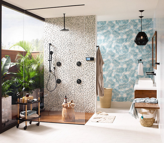 create a pattern that blends the body sprays with the tile and other shower components