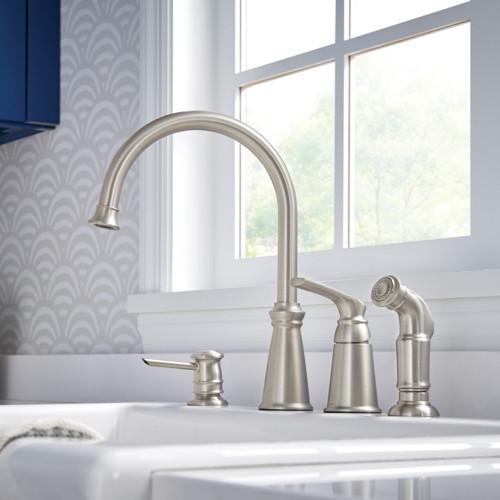 Three hole kitchen faucet configuration