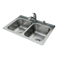 """Galvin Sink & Faucet Combination - 33""""X22"""" 20-Gauge Stainless Steel Double Bowl"""