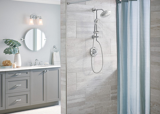 Bathroom mirrors act as a focal point in the room