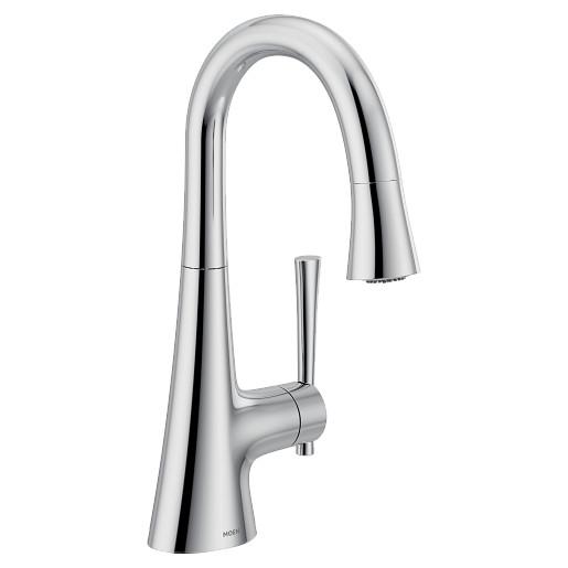 Kurv Chrome one-handle high arc bar faucet
