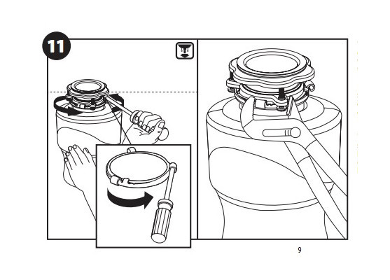 Adjust mounting rings on garbage disposal unit