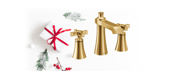 Contemporary flair - Flara Brushed Gold Bathroom Faucet TS6985BG