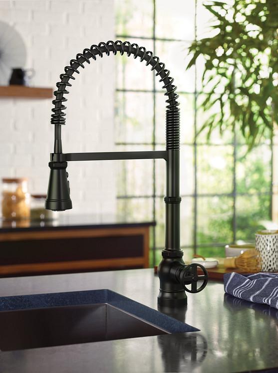 Paterson Matte Black One-Handle High Arc Pulldown Kitchen Faucet
