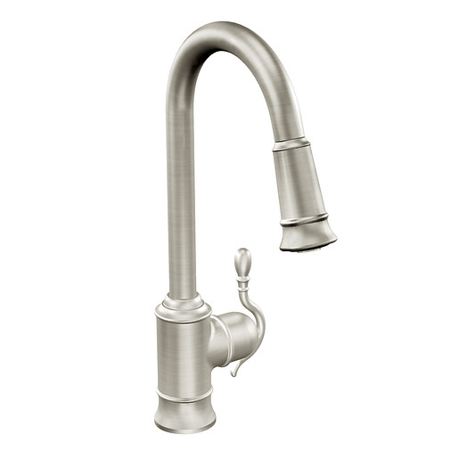 Woodmere Classic stainless one-handle high arc pulldown kitchen faucet