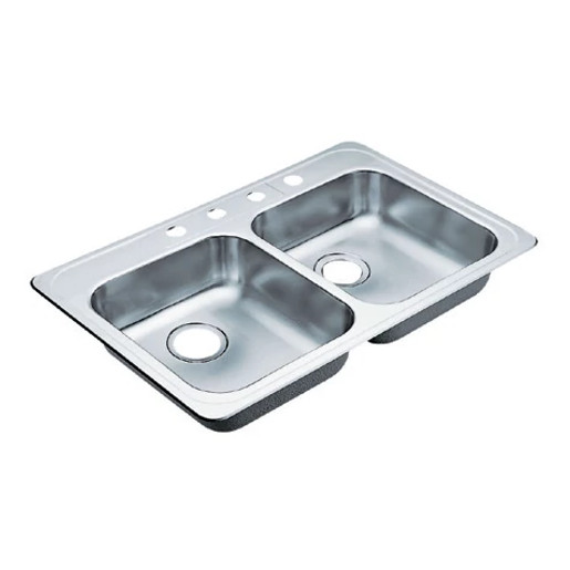"""Commercial 33""""x22"""" stainless steel 20 gauge double bowl sink"""