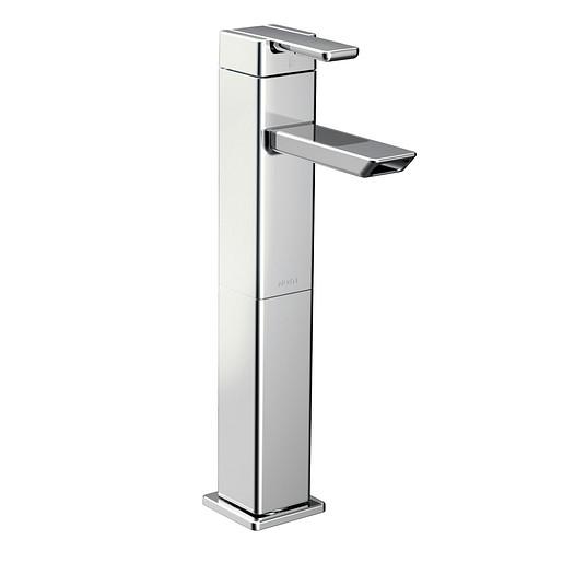 90 Degree Chrome One-Handle High Arc Vessel Bathroom Faucet