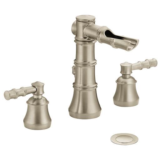 Bamboo Brushed nickel two-handle open waterway bathroom faucet